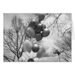 Bunch of balloons outdoors B&W low angle Greeting Card