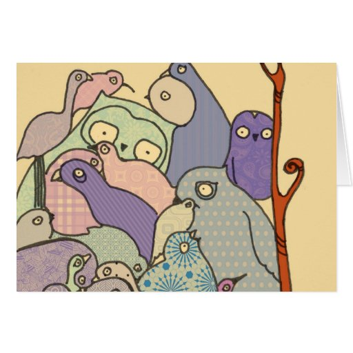 bunch of birds blue tint mosaic greeting card