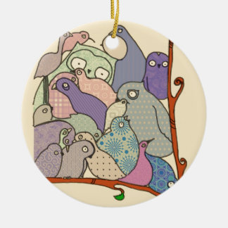 bunch of birds blue tint mosaic Double-Sided ceramic round christmas ornament