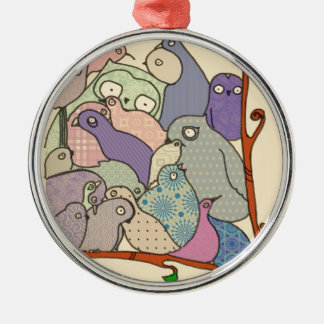bunch of birds blue tint mosaic round metal christmas ornament