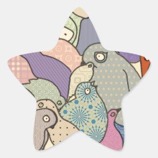 bunch of birds blue tint mosaic star sticker