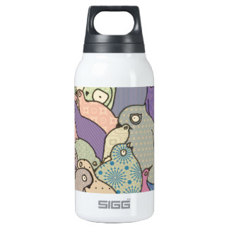 bunch of birds blue tint mosaic thermos water bottle