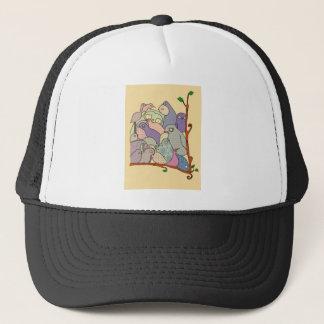 bunch of birds blue tint mosaic trucker hat
