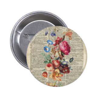 Bunch of Colorful Flowers On A Dictionary Page 2 Inch Round Button
