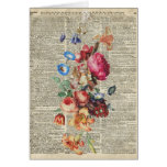 Bunch of Colorful Flowers On A Dictionary Page Card