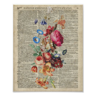 Bunch of Colorful Flowers On A Dictionary Page Poster