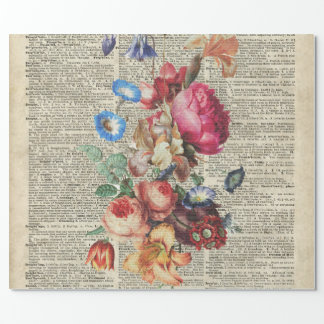 Bunch of Colorful Flowers On A Dictionary Page Wrapping Paper