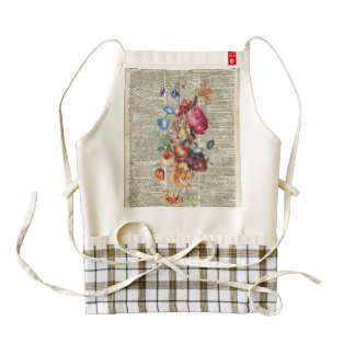 Bunch of Colorful Flowers On A Dictionary Page Zazzle HEART Apron