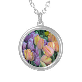 Bunch of colorful tulips silver plated necklace