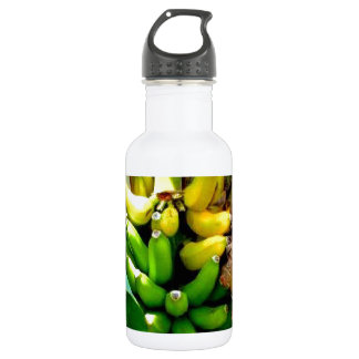 Bunch of delicious yellow and green bananas water bottle