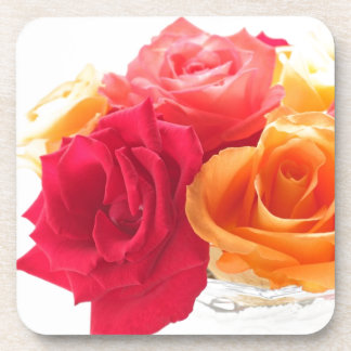 bunch of different roses drink coasters