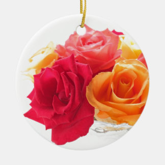 bunch of different roses christmas tree ornament
