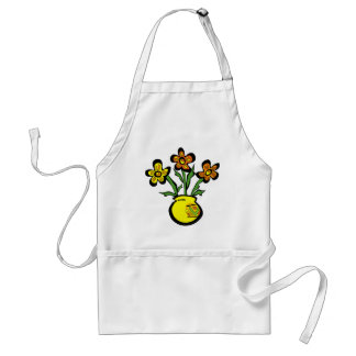 bunch of flowers in a vase adult apron