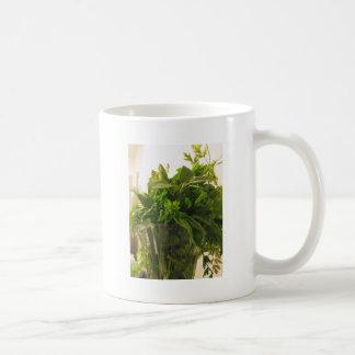 Bunch of fresh herbs from garden coffee mug