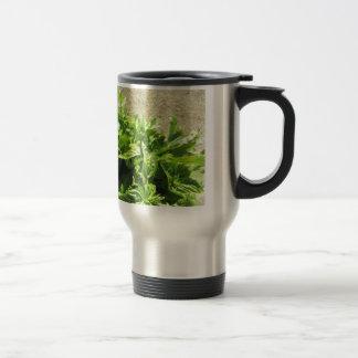 Bunch of fresh herbs travel mug