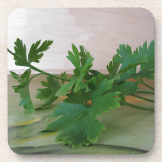 Bunch of fresh parsley on the table beverage coaster