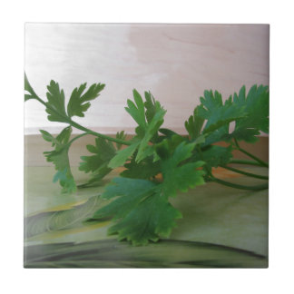 Bunch of fresh parsley on the table ceramic tile