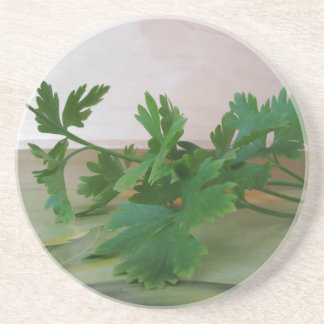 Bunch of fresh parsley on the table coaster