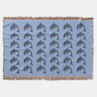 Bunch of Jumping Dark Blue Glittering Dolpins Throw