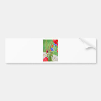 Bunch of of red poppies, cornflowers and ears bumper sticker