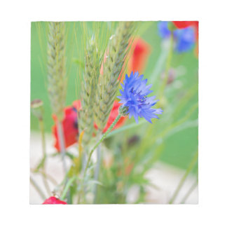 Bunch of of red poppies, cornflowers and ears notepad