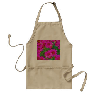 Bunch of pink and yellow flowers adult apron