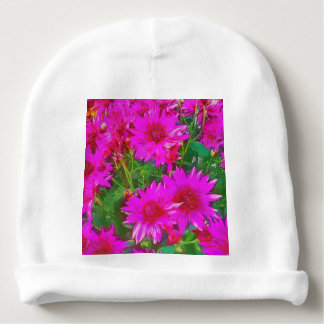 Bunch of pink and yellow flowers baby beanie