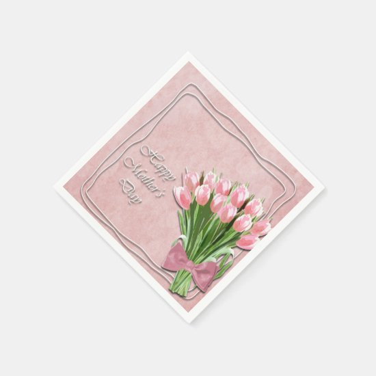 Bunch of Pink Tulips mother's Day Paper Napkin