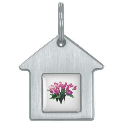 Bunch of Pink Tulips Pet Tags