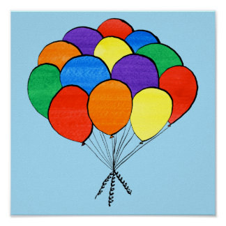 Bunch of Rainbow Colored Balloons on Light Blue Poster