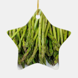Bunch of Raw Asparagus on White Ceramic Ornament