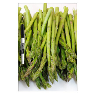 Bunch of Raw Asparagus on White Dry-Erase Board