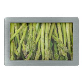 Bunch of Raw Asparagus on White Rectangular Belt Buckle
