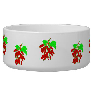 Bunch of red peppers dog food bowl