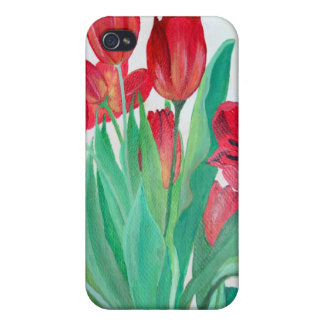 Bunch of Red Tulips iPhone 4 Cases