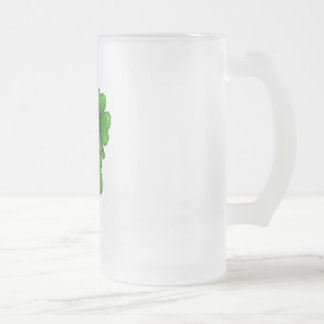 bunch of shamrocks frosted glass beer mug