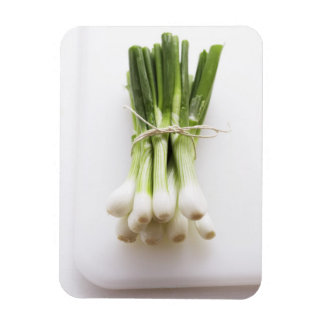Bunch of spring onions on white chopping board rectangular photo magnet