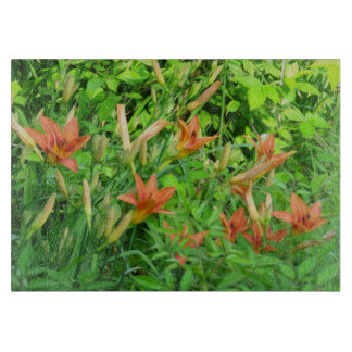 Bunch of Tiger Lilies - Glass Cutting Boards