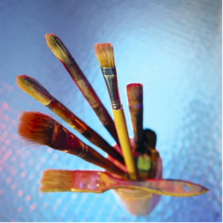 Bunch Of Used Paint Brushes Cutout