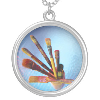 Bunch Of Used Paint Brushes Round Pendant Necklace