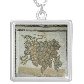 Bunch of white grapes, Roman mosaic Silver Plated Necklace
