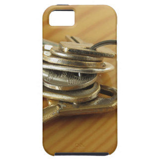 Bunch of worn house keys on wooden table iPhone SE/5/5s case