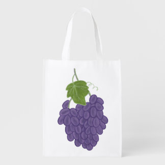 Bunch Ripe Purple Grapes Grocery Bags