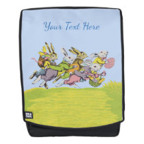 Bunch White Easter Rabbits Running in Grass Eggs Backpack