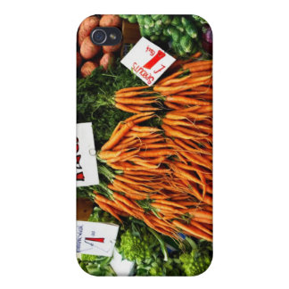 Bunches of carrots and vegetables on market iPhone 4 case