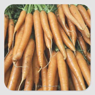 Bunches of carrots, full frame square sticker