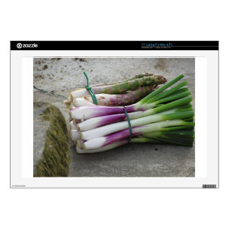 Bunches of fresh onions and asparagus hand picked laptop decals