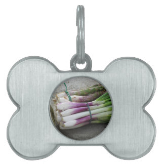 Bunches of fresh onions and asparagus hand picked pet ID tag