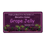 Bunches of Grapes for Jam or Jelly Jars Custom Shipping Label