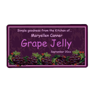 Bunches of Grapes for Jam or Jelly Jars Label